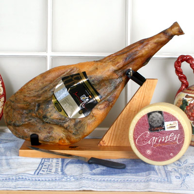 Jamon Iberico de Bellota with Manchego, Holder & Knife JS001-SET