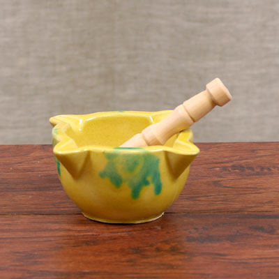 MORTERO-001 - Hand Painted Mortar and Pestle - Yellow - Small